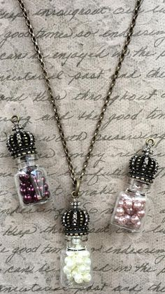 Royal Crown Top Glass Bottle Pendant Necklace  Choice of