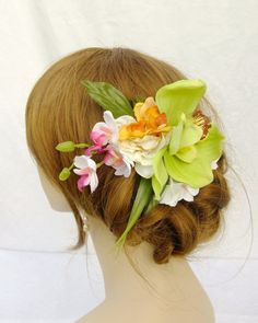 Green Orchid Fascinator Bridal Fascinator by RuthNoreDesigns, $28.00