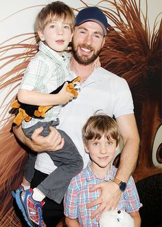 Chris Evans attends The Secret Life of Pets premiere with his nephews, Ethan and Miles, in New York City, New York on June 25, 2016