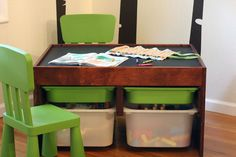 Color Scheme - diy kids storage table make the top half lego/ half chalk to build and draw roads! Play Table, Kid Table, Kids Storage, Table Storage, Toy Storage, Lego Building Table, Lego Table, Kids Train Set, Table Activities For Toddlers