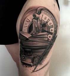 Clock and books tattoo - 100 Awesome Watch Tattoo Designs  <3 <3