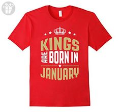 Men's Kings are born in January - Birthday Gift T-shirt Medium Red - Birthday shirts (*Amazon Partner-Link)