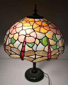 Antique cast iron cherub table lamp emerald glass globe dome shade tiffany style dragonfly table lamp stained glass lighted base accent lighting ebay mozeypictures Image collections