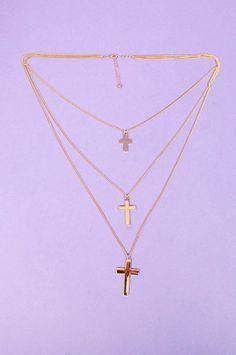 Three Tier Cross Necklace ~ TOBI