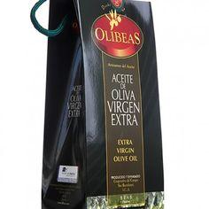 Aceite de oliva virgen extra Olibeas- bolsa con frasca  500 ml.- Debellotagourmet. Elaborado de forna artesanal en el pueblo onubense de Beas, provincia de Huelva.