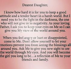 Beautiful letter from God to His Dearest Daughters...