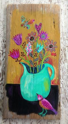 Original acrylic painting on a 11x23 inch piece of rustic wood. The color is beautiful. Sealed and ready to hang.