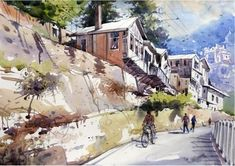 Indian watercolor artists are known for their rich sense of colors and watercolor techniques.Sanjay Bhattacharya, Rajkumar Sthabathy and Milind Mulick. Watercolor Canvas, Watercolor Artists, Watercolor Portraits, Watercolor Techniques, Watercolor Landscape, Watercolor Paintings, Watercolours, Street Pictures, Art Pictures