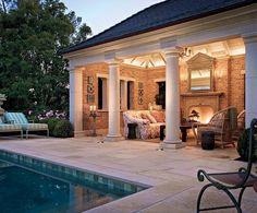 A Tudor for California : Architectural Digest Architect Oscar Shamamian, of Ferguson & Shamamian, designed the pool pavilion