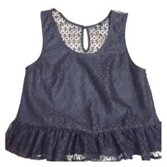 Topshop worn once peplum crop top This black peplum silhouette lace top is partially lined with a sheer back. It has a cropped design, so team it with high waisted skirts and pants for a polished look. Topshop Tops