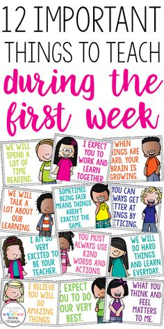 First grade classroom - 12 important things to teach during the first week Great discussion starters to build classroom community Motivational posters for the classroo m First Grade Classroom, Classroom Behavior, Kindergarten Classroom, School Classroom, Classroom Management, Future Classroom, Morning Meeting Kindergarten, Classroom Ideas, Morning Meeting Activities