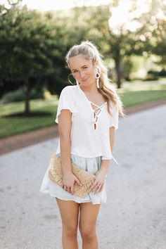 Sea shell shorts + lace up crop top