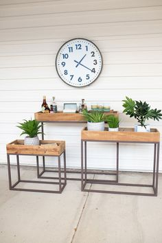 "largest 39"" x 10"" x 32.5""t Set of 3 Nesting Recycled Wood Trays on Metal Bases Free shipping"