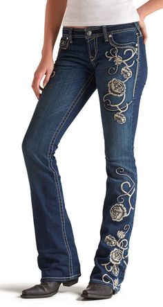 ARIAT RUBY Scatter PEONY Rhinestones Embroidery JEANS NWT 31R  34 W X 33 long #ariat #BootCut  only pair available! THESE ARE AMAZING AND SO HARD TO FIND!