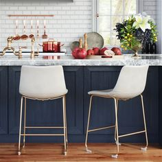Kiersten Counter Stool - The Kiersten Counter Stool is a luxurious, timeless design for everyday dining at your counter-space. Combining ultra-modern with a sensibility that . Counter Stools With Backs, Kitchen Counter Stools, Counter Height Stools, Kitchen Chairs, White Kitchen Stools, White Counter Stools, Counter Top, Farmhouse Kitchen Decor, Home Decor Kitchen