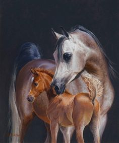 mother with her newborn foal
