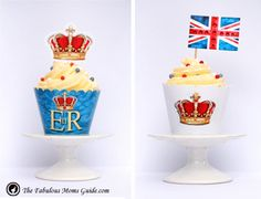 FREE Royal cupcake wrappers. Instant download.  http://www.thefabulousmomsguide.com/2012/05/free-jubilee-party-pack/#