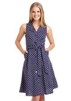 swapped to Jay---- brand new, size large (fits like a true large, not a Modcloth large!)------ MLLE GABRIELLE Navy Sleeveless Polka-Dot Shirtdress