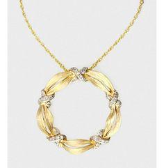 Effy® .10 ct. t.w. Diamond and 14K Yellow Gold Circle Pendant