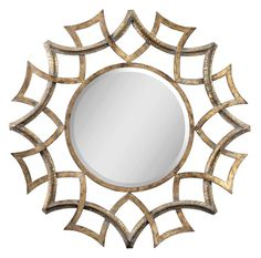 Uttermost 12730 B Demarco Round Beveled Mirror with Geometric  Sunburst Frame Antiqued Gold With A Light Gray Glaze And Burnished Edges. Home Decor