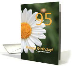 grandma 95th Birthday card, white daisy card