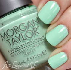 Nail The Trend – Mint Green Nail Polish for Spring  Morgan Taylor Mint Chocolate Chip ($8.50, LoxaBeauty.com) is the perfect peppermint ice cream hue. (2 coats)