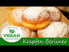 Krapfen Berliner VEGAN Donuts, Hamburger, Bakery, Sweet, Videos, Food, Youtube, Vegan Baking, Vegane Rezepte