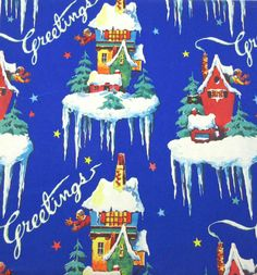 Vintage Christmas Wrapping Paper or Gift Wrap with Houses Man Icicles Trees Stars Greetings on Royal Blue Background