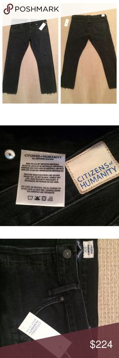 "NWT COH Emerson Boyfriend Jeans Black Hawk 30 $278 Brand new with tags, size 30, these are on COH website right now for $278. Our low-rise Emerson jeans feature a slim feminine leg that falls to just above the ankle and a straightforward, no-nonsense look. Their intentionally distressed detailing and worn black wash gives them a warm lived-in quality. Pair with boots, or roll them up to wear with sneakers. SIZE AND FIT Slim Fit Boyfriend Ankle Content: 100% Cotton Rise: 9 1/2 Inseam: 27"" Leg…"