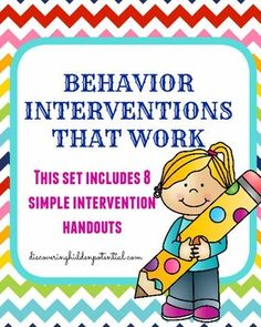 This set includes 8 different behavior interventions that you can use in your classroom.  This would also make for the perfect handout for teachers from either counselors, administrators, or school psychologist in order to support different behaviors throughout the school year.