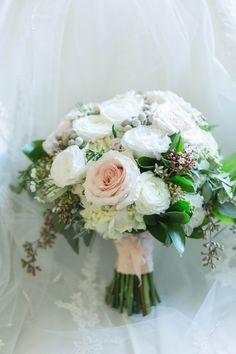 Blush pink and white bridal bouquet White Bridal, Blush Pink, Floral Design, Floral Wreath, Bouquet, Wreaths, Table Decorations, Home Decor, Light Rose