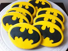 Decorated Batman Logo Cookies- for your superhero party favor. $42.00, via Etsy.