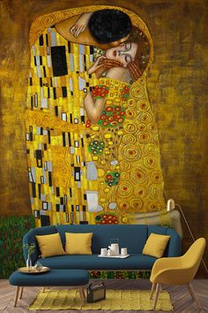 Sink your teeth into Klimt& shimmering gold tones with this decadent art wallpaper mural. Sumptuous jewel tones mix with a glistening gold backdrop, this art wallpaper will bring a touch of luxury to your home. Gustav Klimt, Klimt Art, Gold Backdrop, Wall Art Wallpaper, Piece A Vivre, Pictures To Paint, Home Decor Wall Art, Decoration, Wall Murals