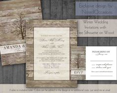 Tree Wedding Invitation | Trees Country Winter Landscape with Trees on- On Wood Grain Digital Download File- Winter summer fall