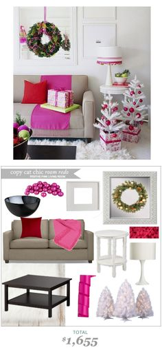 #CopyCatChicRoomRedo A Festive Living room for $1655 from #BetterHomesandGardens #ErinGorbach