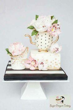 A Sugar Artists Tea Party - Cake by Ivone - Sugar Penguin Cakery 2 Birthday Cake, Tea Party Birthday, Cupcakes, Cupcake Cakes, Beautiful Cakes, Amazing Cakes, Cake Pops, Teapot Cake, Traditional Wedding Cake