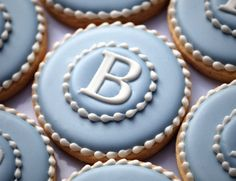 Elegant Blue  White Monogram Cookies
