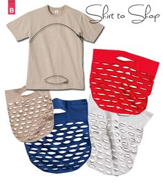 A complete transformation with so little effort. Sew a veggie grocery bag from a t-shirt! To create this netted bag you simple sew one seam, and mark the slit positions with a fabric pen. Cut them out with scissors as you desire.  Don't cut them too big, otherwise things will be rolling down the grocery isles! Get the Tutorial    Sewing Knit Fabrics by Threads