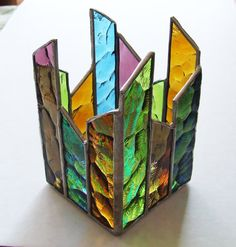 Joseph's Coat Stained Glass Candle Holder