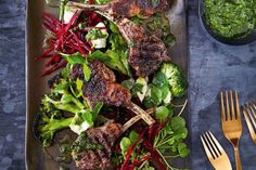 Valli Little's minty lamb with beetroot and charred broccoli