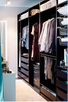 ikea pax wardrobe idea 2 but need mirror and doors Ikea Pax Wardrobe, Ikea Closet, Room Closet, Built In Wardrobe, Master Closet, Walk In Closet, Pax Closet, Closet Behind Bed, Dressing Ikea