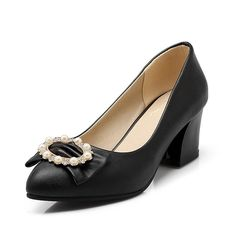 Williamsdd Women's Pull On Kitten Heels Pu Solid Pointed Closed Toe Pumps-Shoes Hot sell * Want additional info? Click on the image.