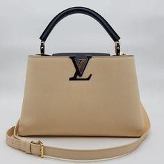 59439a964e67e3 Dea alert $4000 wire. Preloved Louis Vuitton Capucine PM Beige/Black  Taurillon Gold Hardware