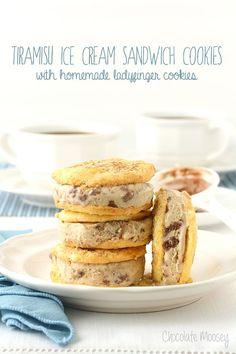 Tiramisu Ice Cream Sandwich Cookies made with tiramisu gelato and homemade ladyfinger cookies. The perfect pick-me-up treat to cool you down
