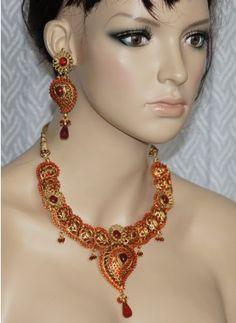 Red stone polki stone necklace set