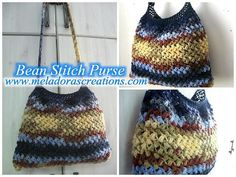 Super Colorful Bean Stitch Purse ~ UPDATED JAN. 30, 2017 ~ easy level ~ FREE - CROCHET