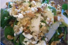 Feta, Walnut, Spinach and Pear Salad With Maple Tarragon Dressing: -Spinach -Feta cheese or blue cheese -1 ripe fresh pear -Toasted and chopped walnuts   Dressing:  -1 large clove of garlic -1/2 teaspoon salt -2 tablespoons maple syrup -3/4 teaspoon dried tarragon -1/4 cup vinegar -1/3-1/2 cup light olive oil  -More salt & pepper to taste