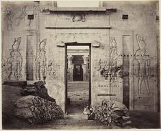 The Great Gate of the Temple of Horus, Edfu, circa 1862.