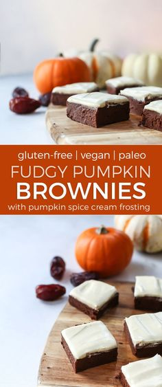 These Pumpkin Brownies are naturally sweetened with Medjool dates! Moist, fudgy and seriously delicious. Made grain-free and gluten-free with just a bit of coconut flour. Vegan-friendly.