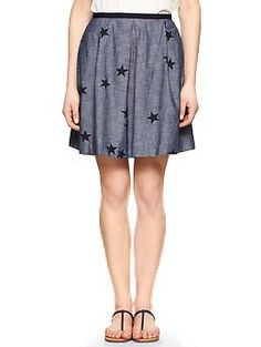 Pleated star chambray skirt | Gap